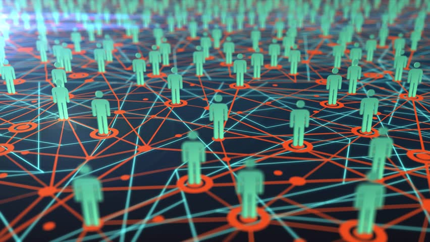 Seamless 3D animation of great people network map growing into a social media or community with movement in aerial satellite view concept 4k ultra HD