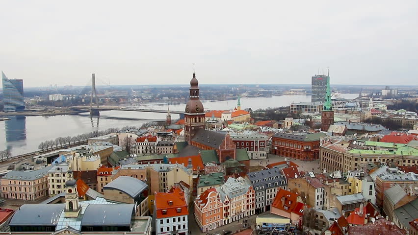 View at Riga from the tower of Saint Peter's Church, Riga, Latvia   Shutterstock HD Video #15064345