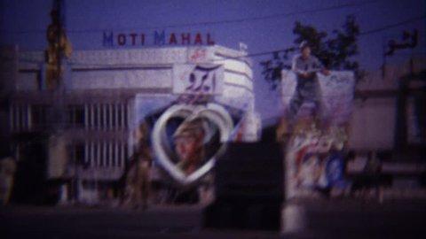 LAHORE, PAKISTAN 1973: Moti Mahal hotel political propaganda idolatry posters.