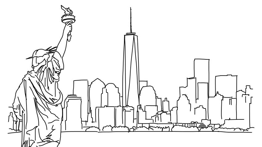 Line Drawing Animation : Drawing of skyline stock footage video shutterstock