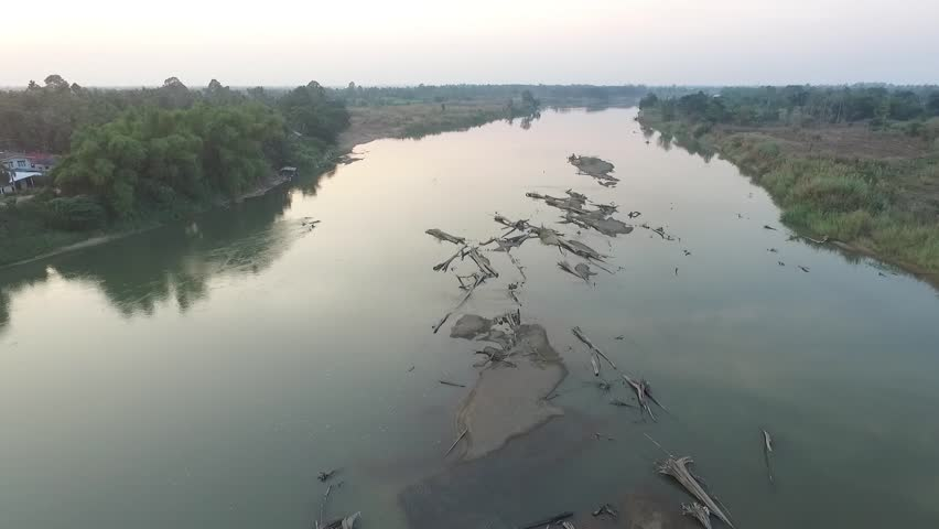 Aerial Shot from Drones about Drought and Global Warming, Low Level Water in PING River of THAILAND. | Shutterstock HD Video #15153205