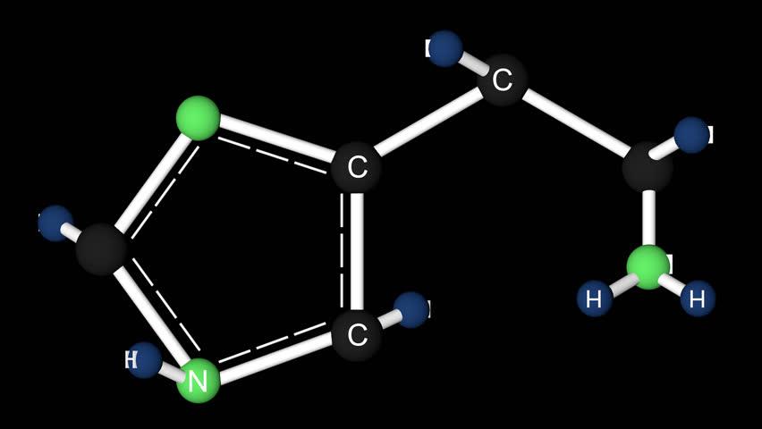 Histamine molecule structure. Molecular structure of histamine, 3D animation. Alpha channel.