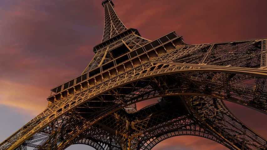 Timelapse of Eiffel Tower and gorgeous sunset, Paris | Shutterstock HD Video #15196297