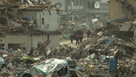 Japan Tsunami Aftermath - View Across Destruction In Rikuzentakata City - Full HD 1920x1080 30p.