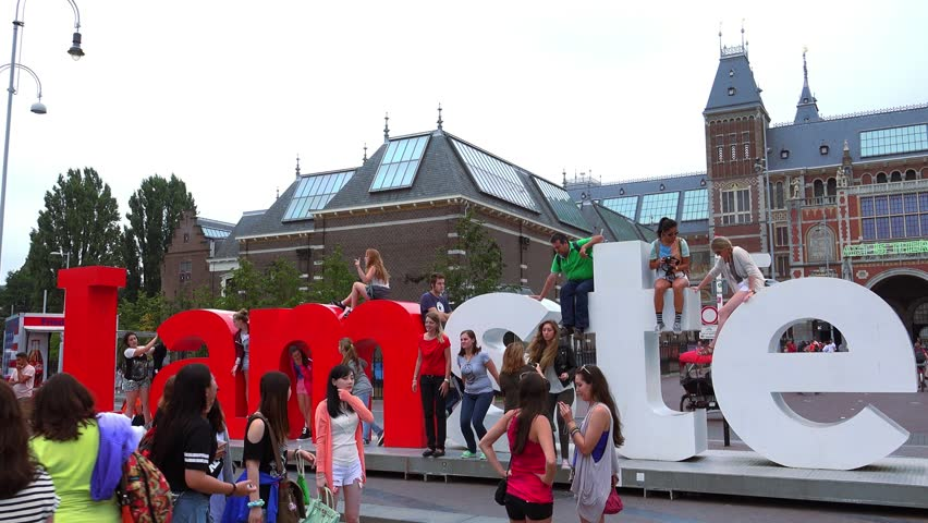 Big Amsterdam Letters Museum Square Netherlands July 3 2014 Stock