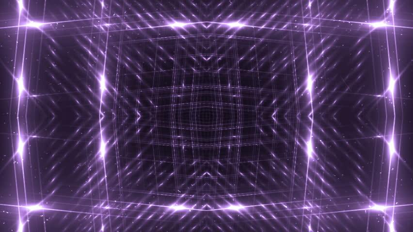 VJ Fractal violet kaleidoscopic background. Background purple motion with fractal design. Disco spectrum lights concert spot bulb. Light Tunnel. #15230755