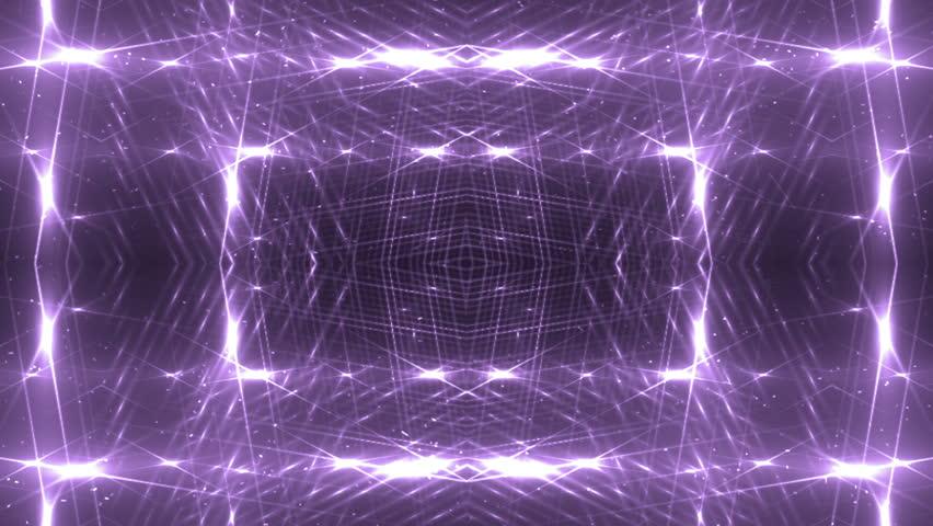 VJ Fractal violet kaleidoscopic background. Background purple motion with fractal design. Disco spectrum lights concert spot bulb. Light Tunnel. #15231355