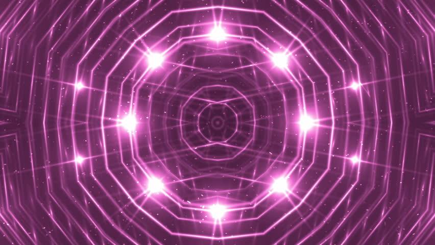 VJ Fractal pink kaleidoscopic background. Background magenta motion with fractal design. Disco spectrum lights concert spot bulb. Light Tunnel.   Shutterstock HD Video #15231385