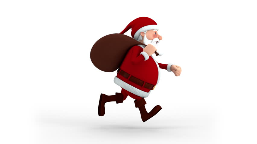 Cartoon Santa Claus with gift bag running on spot - side view - high quality 3d animation