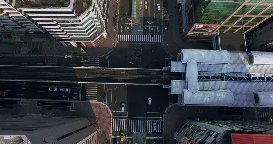 Aerial view of Taipei from MRT station tilt up to Taipei101, Taiwan