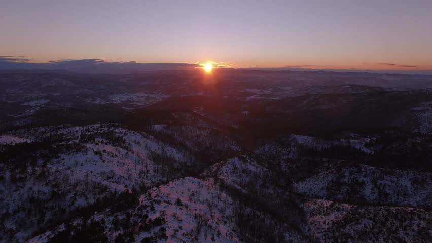 Aerial shot of beautiful sunset with snow on the italian alps | Shutterstock HD Video #15316525