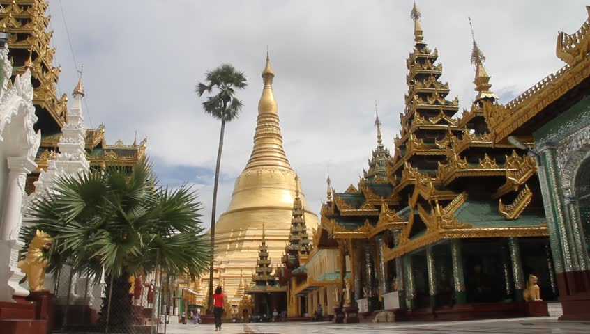 Shwe Dagon Pagoda and temples around in Yangon, Myanmar