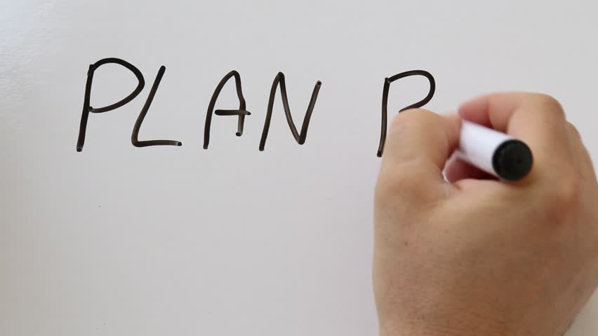 Shot of Plan B hand written on whiteboard