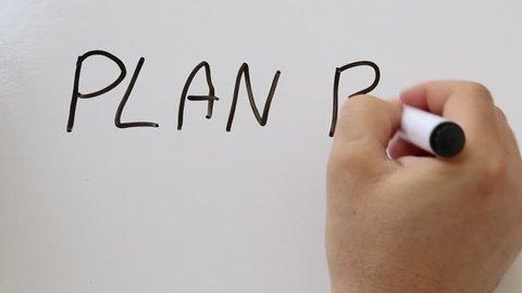 Shot of Plan B hand written on whiteboard