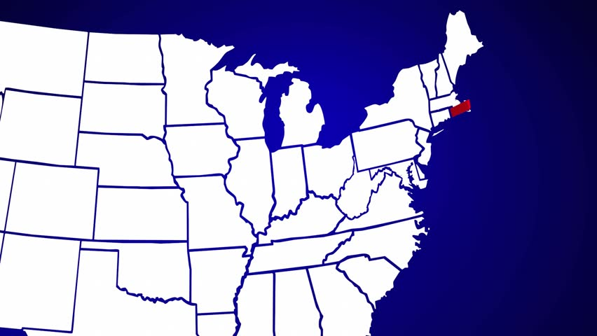 Rhode Island Ri United States Of America 3d Animated State Map Hd Stock Video Clip