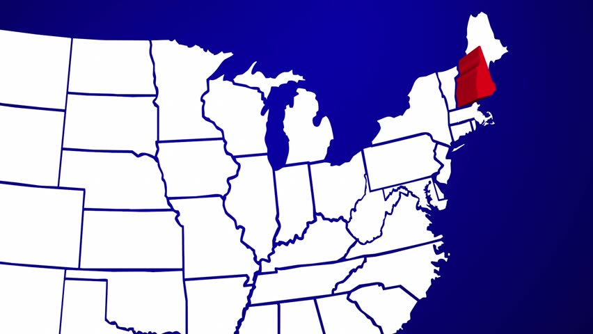 USA All States Showing Up With Initials On A Digital Monitor Stock - Us map initials