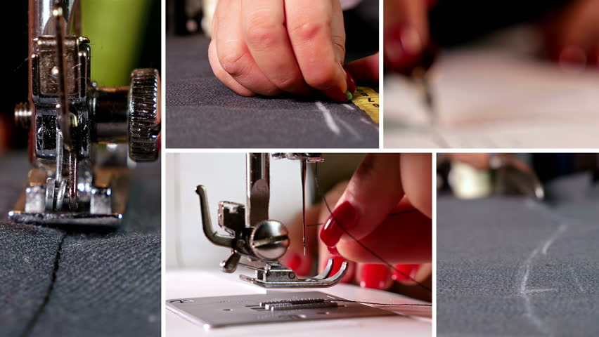 Montage collection of clips showing designer measuring cloth and sewing with sewing machine
