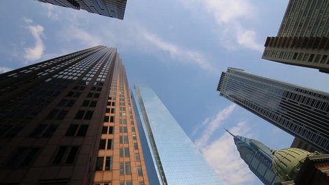 Tracking shot looking up at Philadelphia skyline / Philadelphia, Pennsylvania - USA., May, 2013