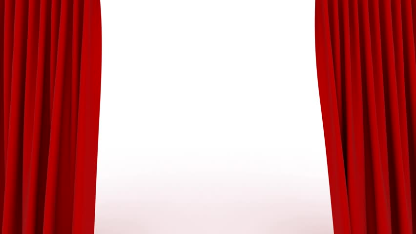 Red Curtains Open White Background Stock Footage Video