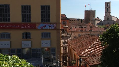 GRASSE, FRANCE - APRIL 10, 2014: View to the Fragonard perfume factory and old buildings of Grasse, France.