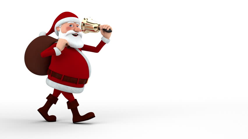 Cartoon Santa Claus walking with gift bag and bell across the screen - high quality 3d animation