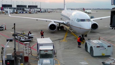 CHICAGO, December 3, 2013: Aircraft being prepared to departure from gate in Chicago, Illinois, United States