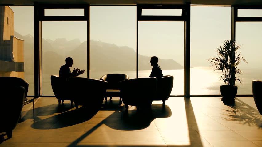 Two Businessman Having A Business Meeting In Modern High Rise Office Building Hd Stock Footage