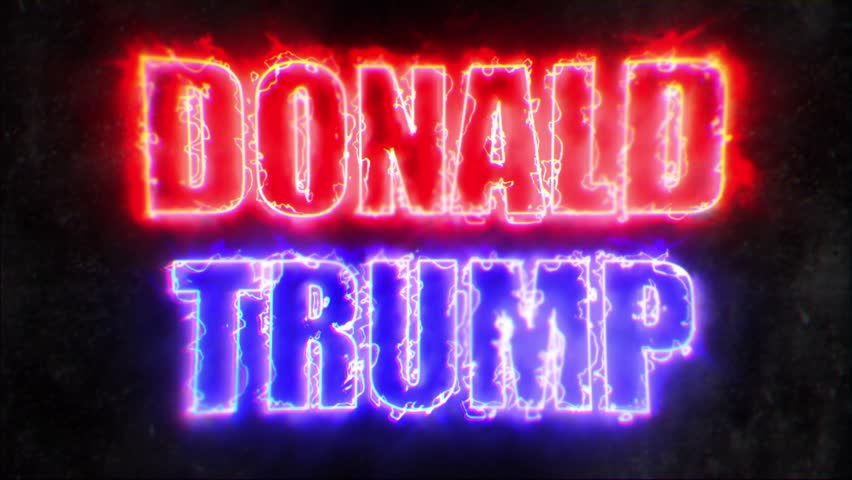 DONAL TRUMP RED & BLUE TEXT REVEAL / DONALD TRUMP NAME REVEAL / The name of Donald Trump revealed with red and blue energy look