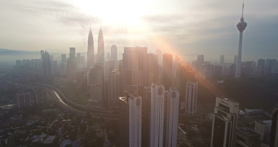 Aerial view of Kuala Lumpur city in Malaysia capital, tall buildings. Cinematic video of skyscrapers in big City. | Shutterstock HD Video #15439903