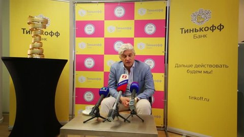 MOSCOW - JUN 03, 2015: Oleg Tinkoff is interviewed. Tinkoff Saxo bank - sponsor of Spanish team won cycling in Giro d Italia 2015