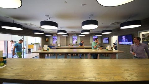 MOSCOW - JUN 03, 2015: Cafeteria in Tinkoff Bank office. Tinkoff Bank - only full online bank in Russia