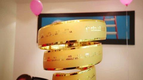 MOSCOW - JUN 03, 2015: Giro d Italia award in office Tinkoff Saxo bank - sponsor of Spanish team won cycling in 2015
