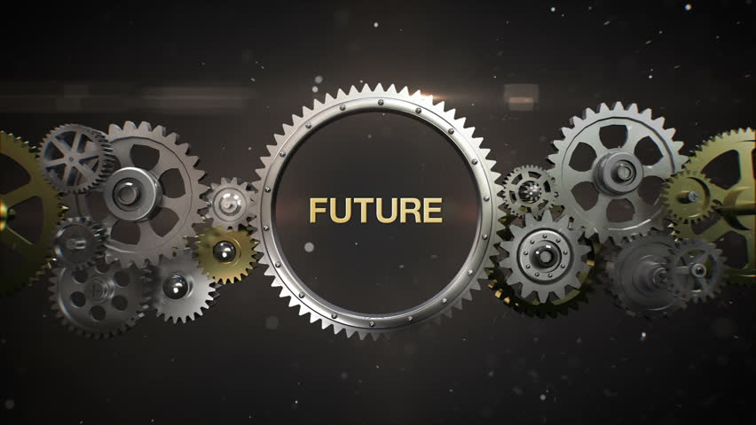 Blueprint with spinning gears technical background stock footage connecting gear wheels and make keyword future included alpha hd malvernweather Images