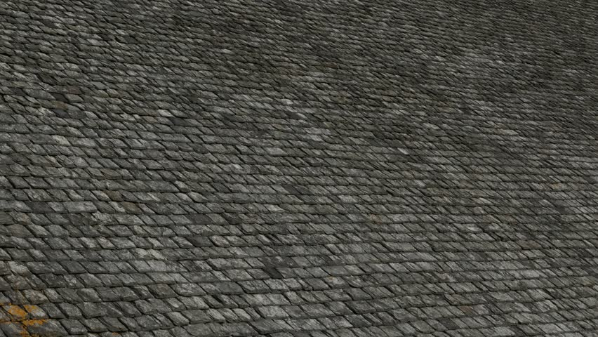 Terracota Clay Middle Age Roof Tiles In Normandy France Weathered 4K 2160p  30fps UltraHD Tilt Video