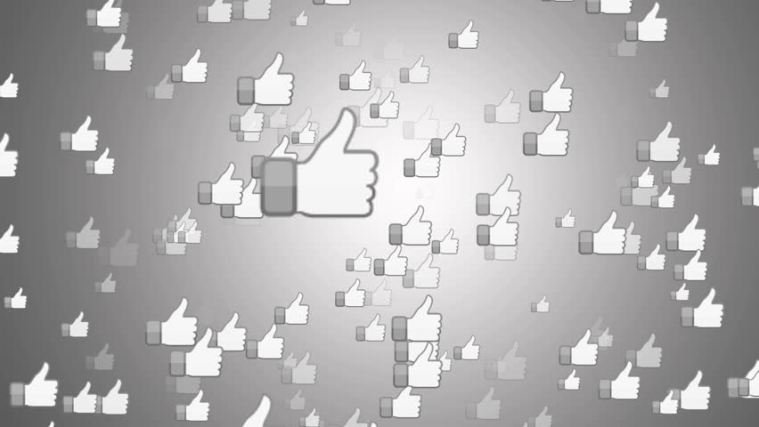 """SAN FRANCISCO, USA - April 1, 2016: """"Facebook Like Button"""" From Bright White Surface. Facebook is The Most Popular Online Social Networking Service in the World. Editorial Animation. 