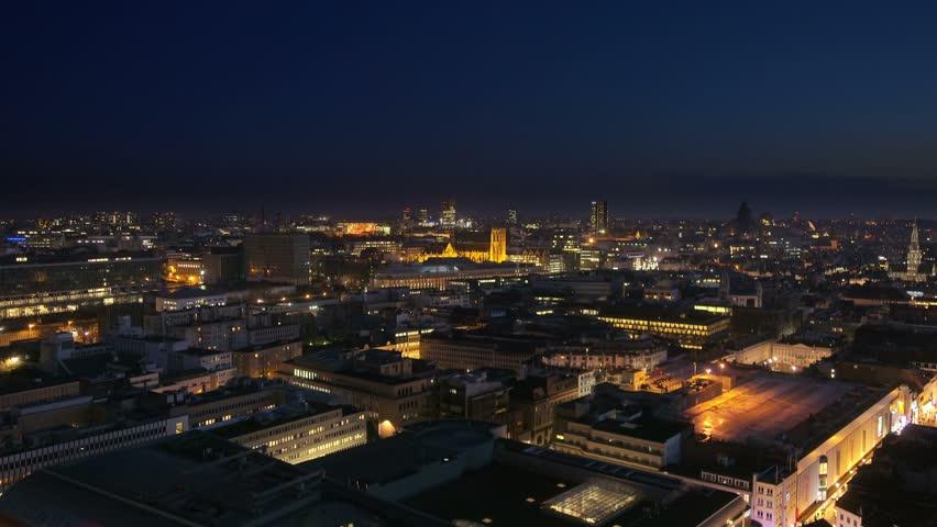 panoramic view of brussels skyline illuminated at night aerial