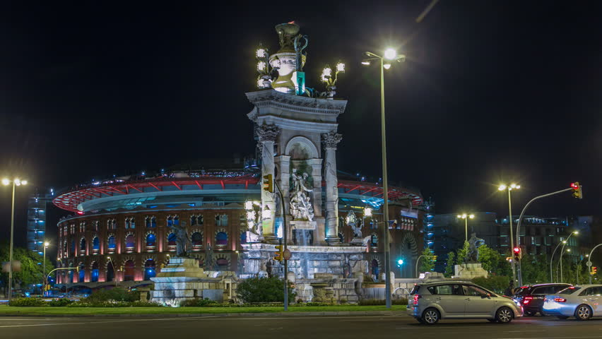 Monument with Fountain on the Placa Espanya in Barcelona at night timelapse hyperlapse, Catalonia, Spain