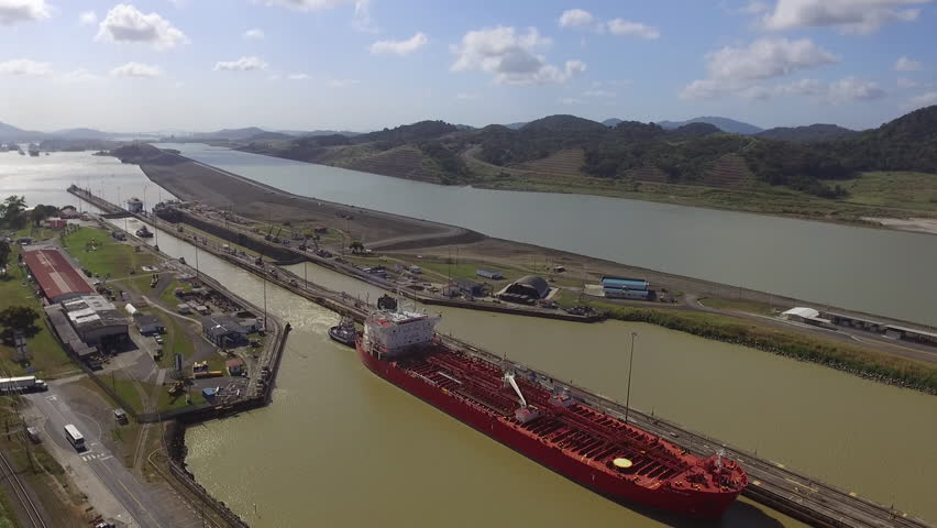 A large ship exits Pedro Miguel in the Panama Canal