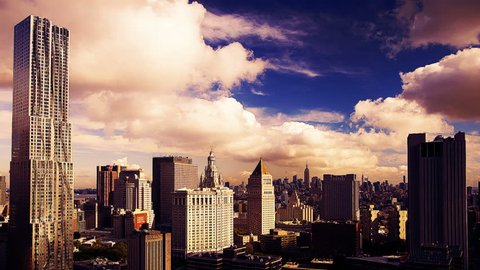 Manhattan skyline and Gehry building from a high vantage point, OCTOBER 4, 2011 in New York.