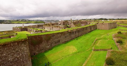 Aerial footage of Charles Fort is a star fort located on the water's edge, at the southern end of the village of Summer Cove, on Kinsale harbour, County Cork, Ireland.