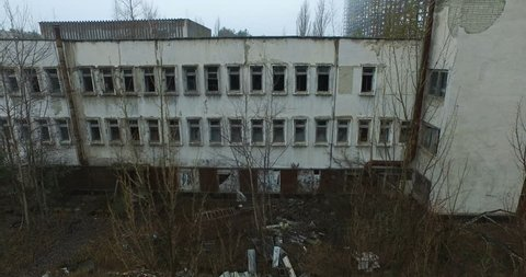 Abandoned office building in the Chernobyl exclusion zone. The consequences of the accident at the Chernobyl nuclear power plant.