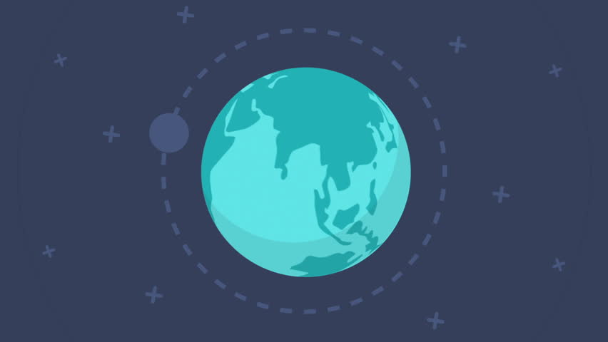 Flat design spinning Earth with communication network and satellites. This animation is a seamless loop. Animation of planet Earth. Flat style, flying around the moon, the planet revolves, rotates