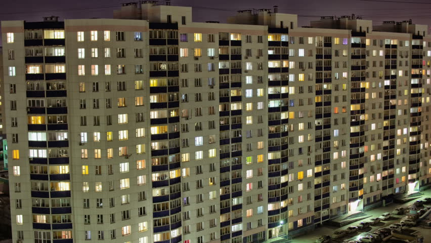 Time Lapse of Apartment Building at Night #15607615