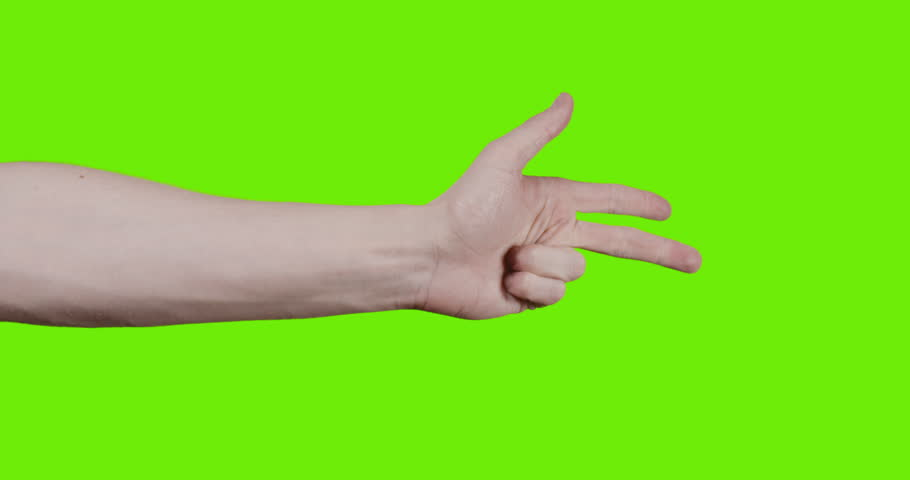 adult young man hand counting one to five over green screen, prores footage  60fps slowmo