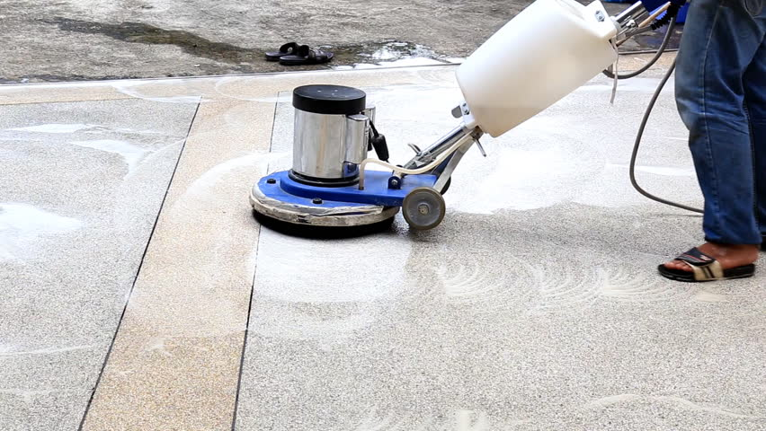 Outdoor floor cleaning with polishing machine and chemical for Concrete cleaning machine