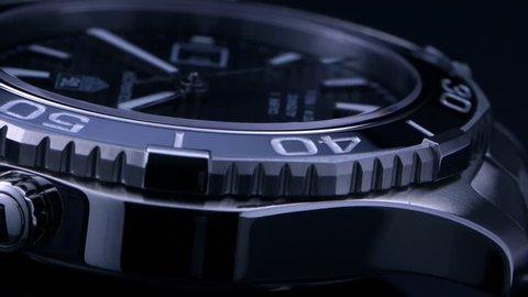 Luxury swiss mechanical watch studio shot / Stainless steel and ceramic bezel