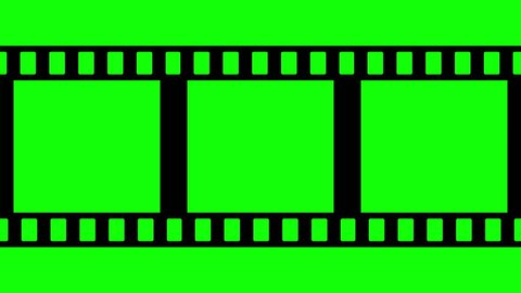 Film Strip Moveing on Green Background. Seamless Loopable Video Footage on green screen. Abstract Film Strip design template. Film Strip Seamless Pattern with chroma key