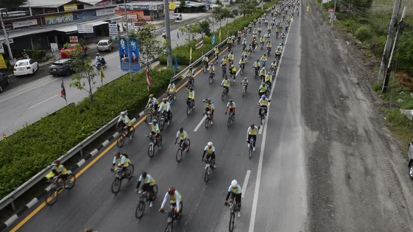 """THAILAND, DECEMBER 11-2015 : People joining an event """"Bike for Dad to celebrate the 88th birthday anniversary of His Majesty King Bhumibol Adulyadej on December 11, 2015 in Bangkok, Thailand. 