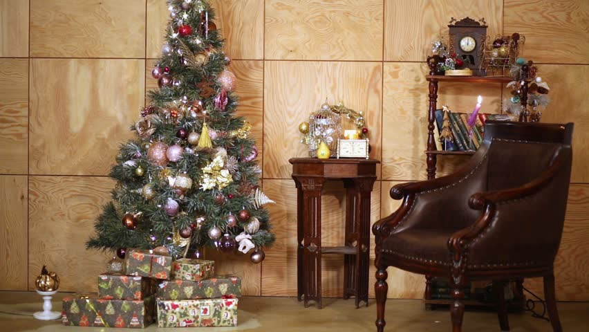 Interior of room with firtree decorated to christmas holidays and changing  light. - HD stock