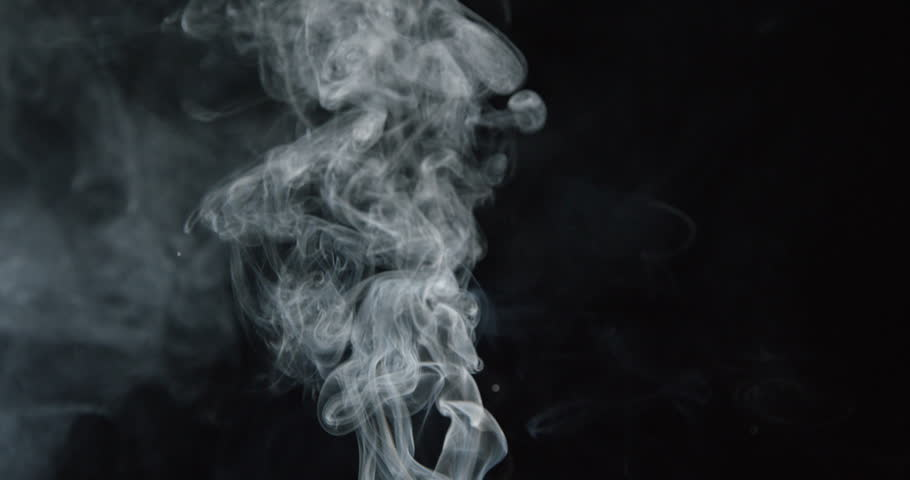 Smoke billows up into frame against black background, as if from fire, ALPHA MATTE